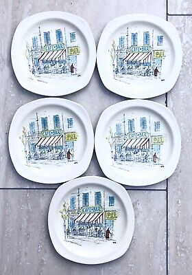 MIDWINTER Pottery RIVIERA Hugh Casson 5X Cake Dessert Serving Plates 1950's 16cm • 16.99£