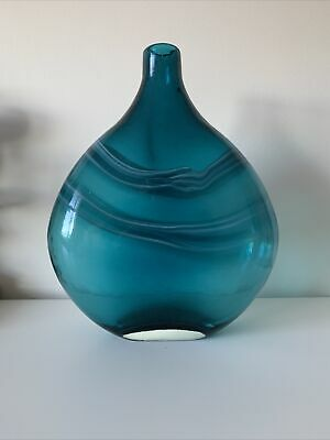 Beautiful Multi Blue And White  Hand Blown Glass Vase • 4.40£