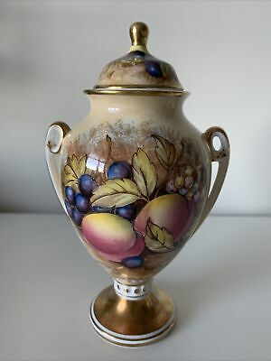 Aynsley Bone China Cottage Orchard Gold Lidded Urn 6inches • 10.50£