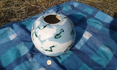 Pottery Glazed Globe Vase. One-Off Hand Made Approx 7 Inch Diameter • 5£