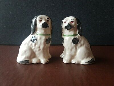 PAIR Of Small STAFFORDSHIRE Spaniel DOGS Black & White • 9.99£