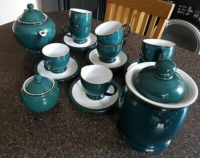 Denby Greenwich Tea Set & Biscuit Barrel - Excellent Condition, Hardly Used. • 45£