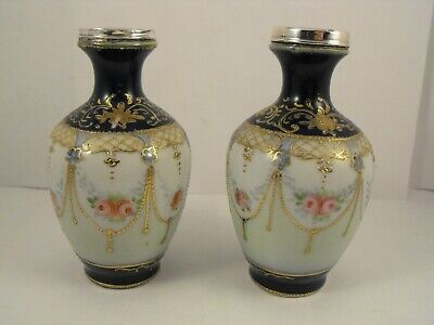 Pair Of Porcelain Vases With Silver Rim, London 1929, William Henry Sparrow • 25£