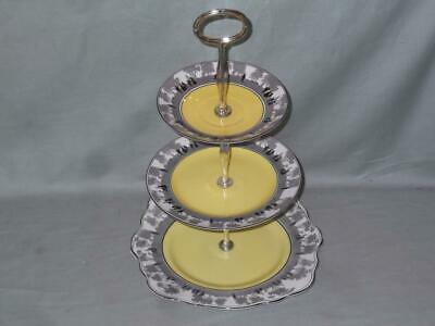 Vintage Foley China Silhouette 3-Tier Hostess Cakestand Yellow & Black 271 • 24.95£