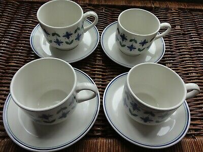 4 Midwinter Cups & Saucers • 12.34£