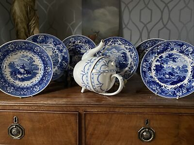 Beautiful Vintage Wedgwood Blue And White Queens Ware Plate Set • 85£