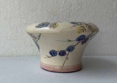 Vintage Glazed Pottery Sugar Bowl Decorated With Bramble Pattern By C H Brannam • 12£