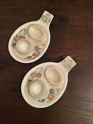 2x Jersey Pottery Hand Painted Double Hard Boiled Egg Plates With Handle • 5£