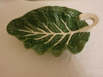 Large Cabbage Curved Leaf Platter By Bordallo Pinheiro • 25£