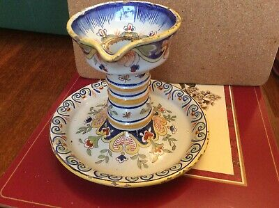 Quimper Faience Pottery Candle Holder • 4.50£