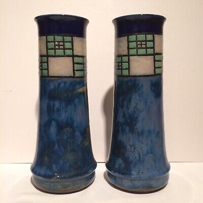 Pair Of Antique Royal Doulton Vases C1920 Art Deco Geometric Excellent Condition • 120£
