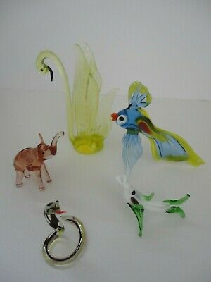 Vintage Murano Pirelli Glass Animals Collection Of Five • 5£
