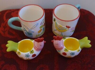 Marks And Spencer Hand Painted Chicken Mugs And Egg Cups - Two Of Each • 20£
