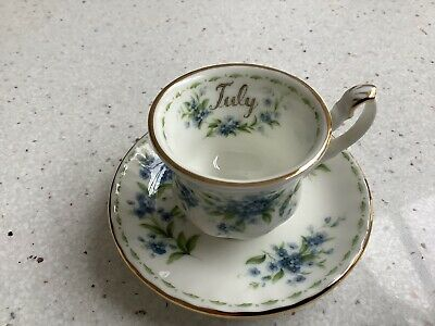 Royal Albert Flower Of The Month (July Forget Me Not) Miniature Tea Cup & Saucer • 12.95£