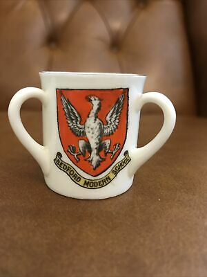 W H Goss Crested China Loving Cup Bedford Modern School + 2 Bedford Crests • 3.99£