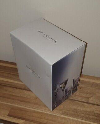 NEW Royal Doulton Linear Champagne Flutes (Set Of 6) Crystal Glass – Boxed • 20£