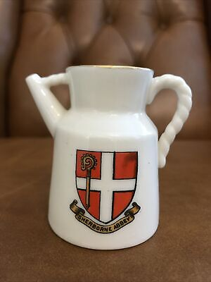 W H Goss Crested China Scarboro Kettle Sherborne Abbey • 3.99£