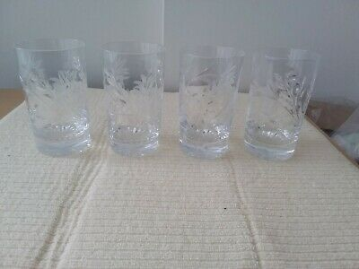 Quality Set  Of 4 Lead Crystal Cut Glass Whisky Tumblers /Glasses Unamed  • 20£