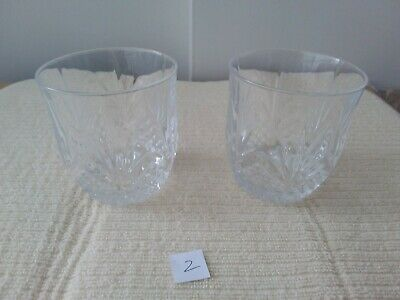 Quality Pair Of  Lead Crystal Cut Glass Whisky Tumblers/ Glasses  Unamed • 12£