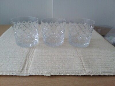 Quality Set  Of 3 Lead Crystal Cut Glass Whisky Tumblers/ Glasses Unamed • 20£