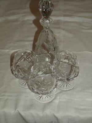 Crystal Brandy Decanter And Three Balloon Glasses Excellent Condition • 14.99£