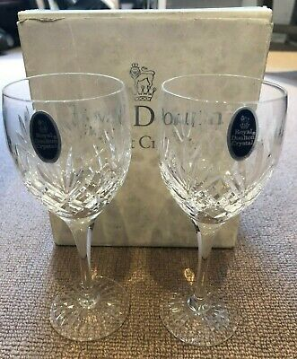 Bnib Pair Royal Doulton Finest Crystal Wine Water Glasses Westminster • 11.50£