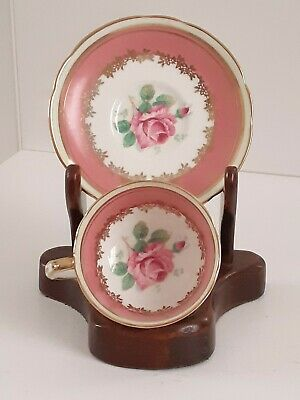 Paragon Demitasse Cup & Saucer With Pink Cabbage Rose Double Warrant 1939-1949 • 26£