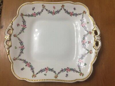George Jones Crescent China;2 Handled Gilded Oblong Cake Plate,swags,roses • 19.99£