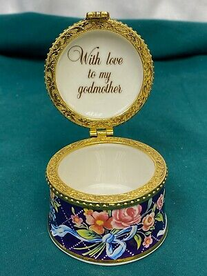 Staffordshire Collectable Fine Bone - Fenton China Trinket Box For Godmother • 4£