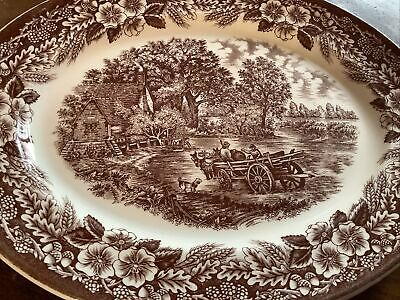 Vintage BROADHURST Staffordshire Brown Oval Meat Plate HAYWAIN JOHN CONSTABLE • 1.99£