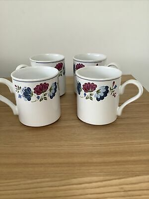 4 X BHS Priory Pattern 260ml Size Tea Or Coffee Size Mugs 9cm Look In VGC • 15£