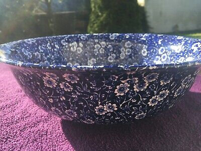 CALICO BOWL BURLEIGH Staffordshire Pottery Blue & White Large Fruit Or Wash Bowl • 49£