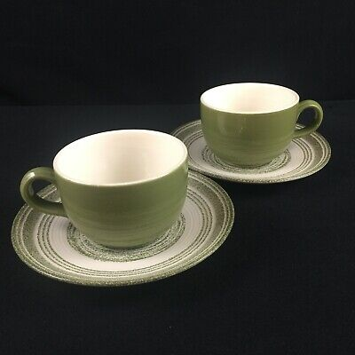 Set Of 2 VTG Cups And Saucers Max Schonfeld El Verde Green Spiral Ironstone USA • 9.30£