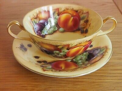 Aynsley Orchard Soup Bowl And Saucer • 49.99£
