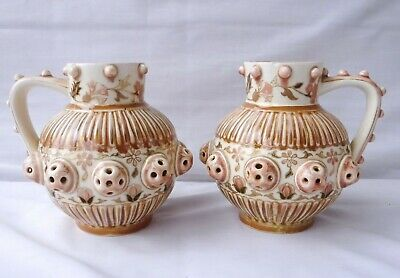 Antique Zsolnay Pecs Hungarian Pair Of Matching Jugs • 50.99£