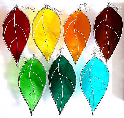 Garden Leaves Stained Glass Suncatcher Hanging Window Decor Flower Leaf Gift • 8.99£