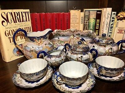 Antique Hand Painted Porcelain Gold Beaded Moriage Scallops Footed Tea Set • 308.54£