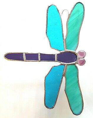 Teal Green Purple Dragonfly Stained Glass Suncatcher Window Wall Hanging Decor • 24.95£
