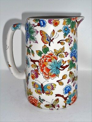BN Cream Pottery Exotic Flowers And Butterflies Floral Style Pitcher Pint Jug • 12£
