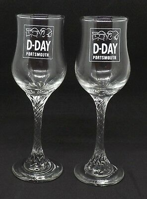Pair Of Sherry Glasses With Commemorative   D Day  Portsmouth Printed On Them • 10£