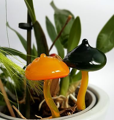 Glass Mushrooms Flower Pot Decorative Handcrafted Ornaments Set Of 2  • 12.45£