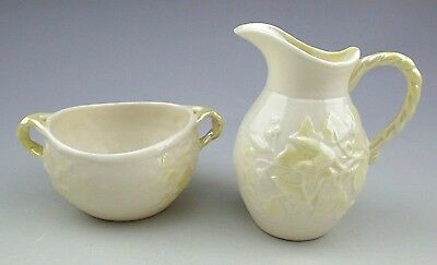 Vintage BELLEEK Sugar Bowl & Creamer Ivy Irish Porcelain : Green Mark • 30.48£