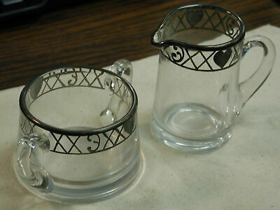 Heisey Silver Overlay Sugar And Creamer With Painted Hearts On Rim Sweet • 17.73£