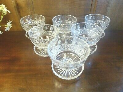 EXCELLENT Crystal SET Of 6 Finely CUT GLASS SUNDAE DISHES/BOWLS • 44.95£