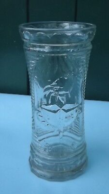 1951 Festival Of Britain Tall Pressed Glass Vase Festival Emblem Date To Front • 15.99£