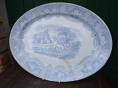Vintage Blue & White Syria Pattern Large Oval Platter Meat Dish • 14.99£