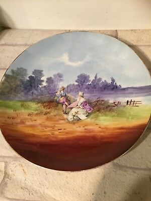Vintage Antique Pretty Decorative Large Plate Charger Flute Playing Couple  • 2.99£
