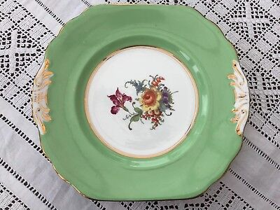 Vintage Green Square Floral Cake Or Bread & Butter Plate • 12.95£