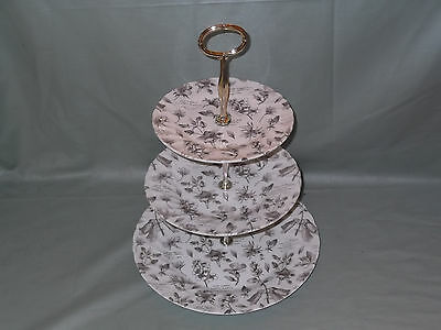 RHS  The Garden  Sepia 3-Tier Hostess Cake Plate Stand Queens China By Churchill • 27.50£
