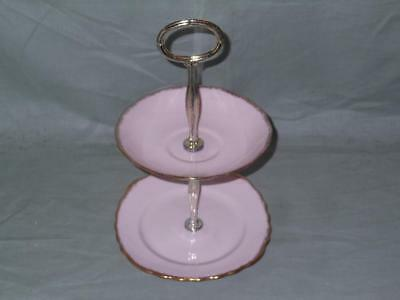 Royal Vale Biscuit Plate Small Cakestand Pink & Gold • 9.99£